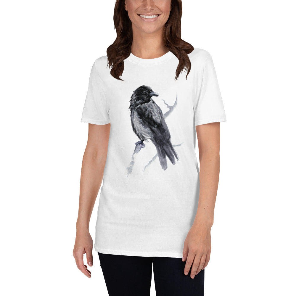 Corvid Black Bird Perched - Short-Sleeve Unisex T-Shirt