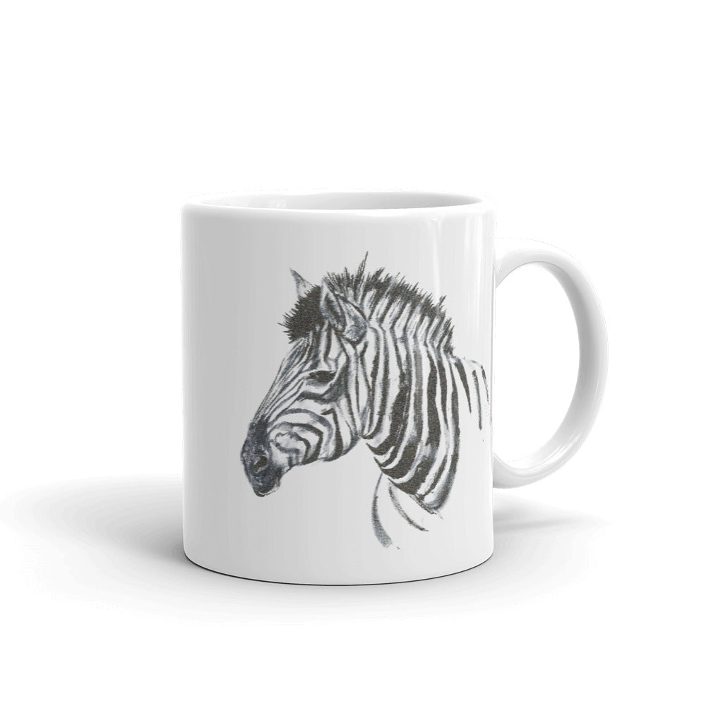 Zebra Ink Brush Painting - Mug