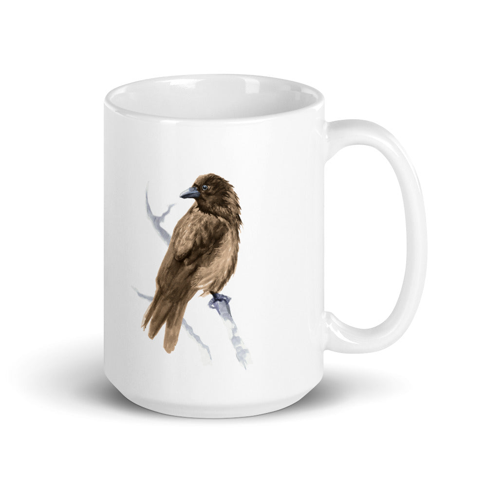 Corvid Brown Bird Perched - Mug