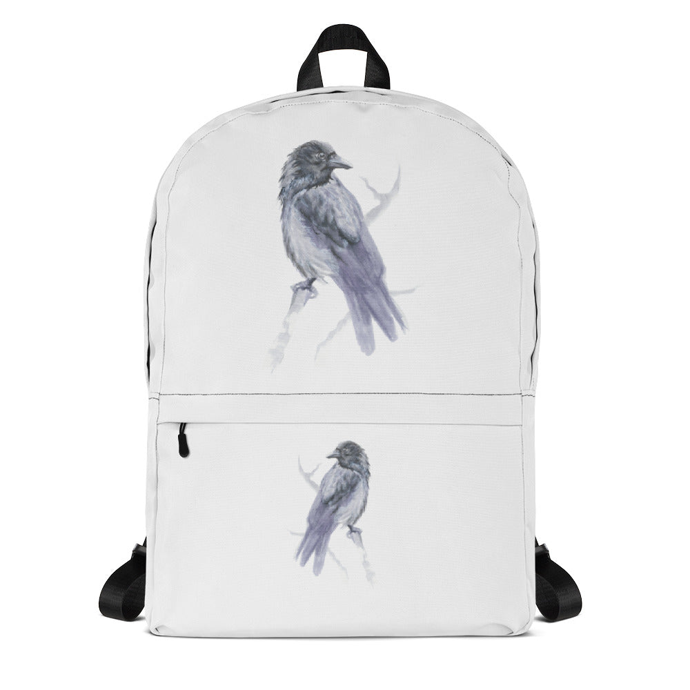 Corvid Gray Bird Perched - Backpack