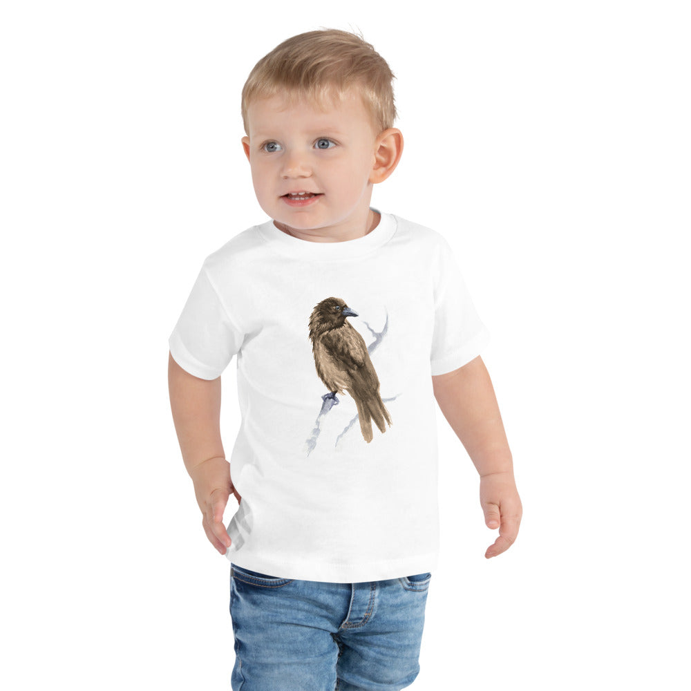 Corvid Brown Bird Perched - Toddler Short Sleeve Tee