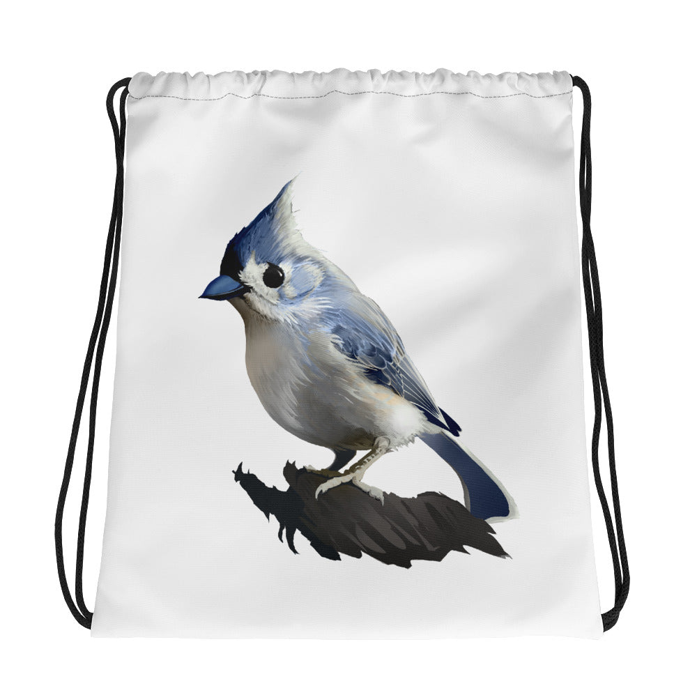 Bashful Tufted Titmouse - Drawstring Bag