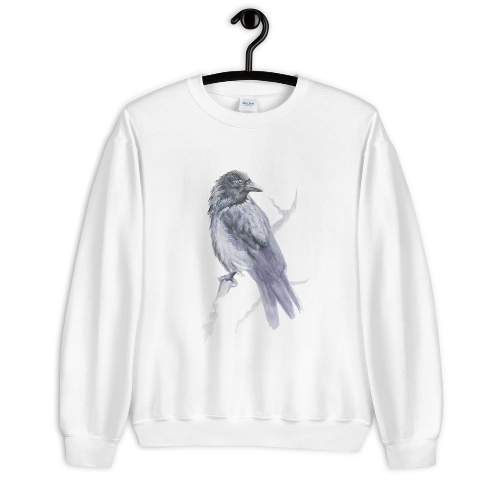 Corvid Gray Bird Perched - Unisex Sweatshirt
