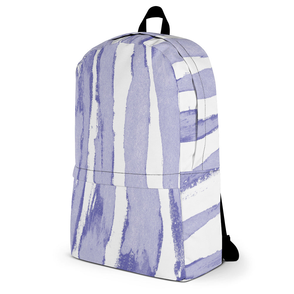 Zebra Stripes Lavender and White - Backpack