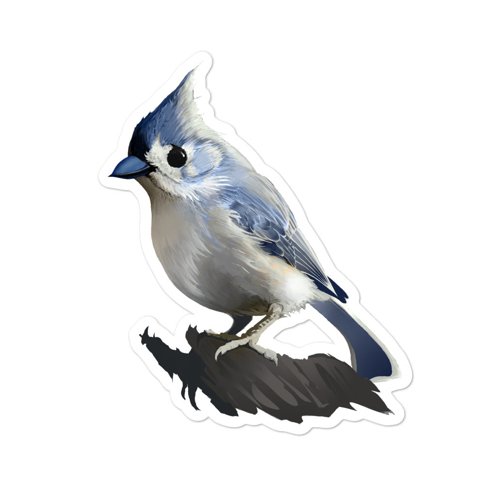 Bashful Tufted Titmouse - Bubble-Free Stickers
