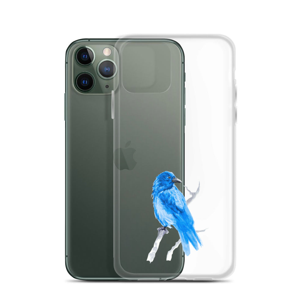 Corvid Blue Bird Perched - iPhone Case