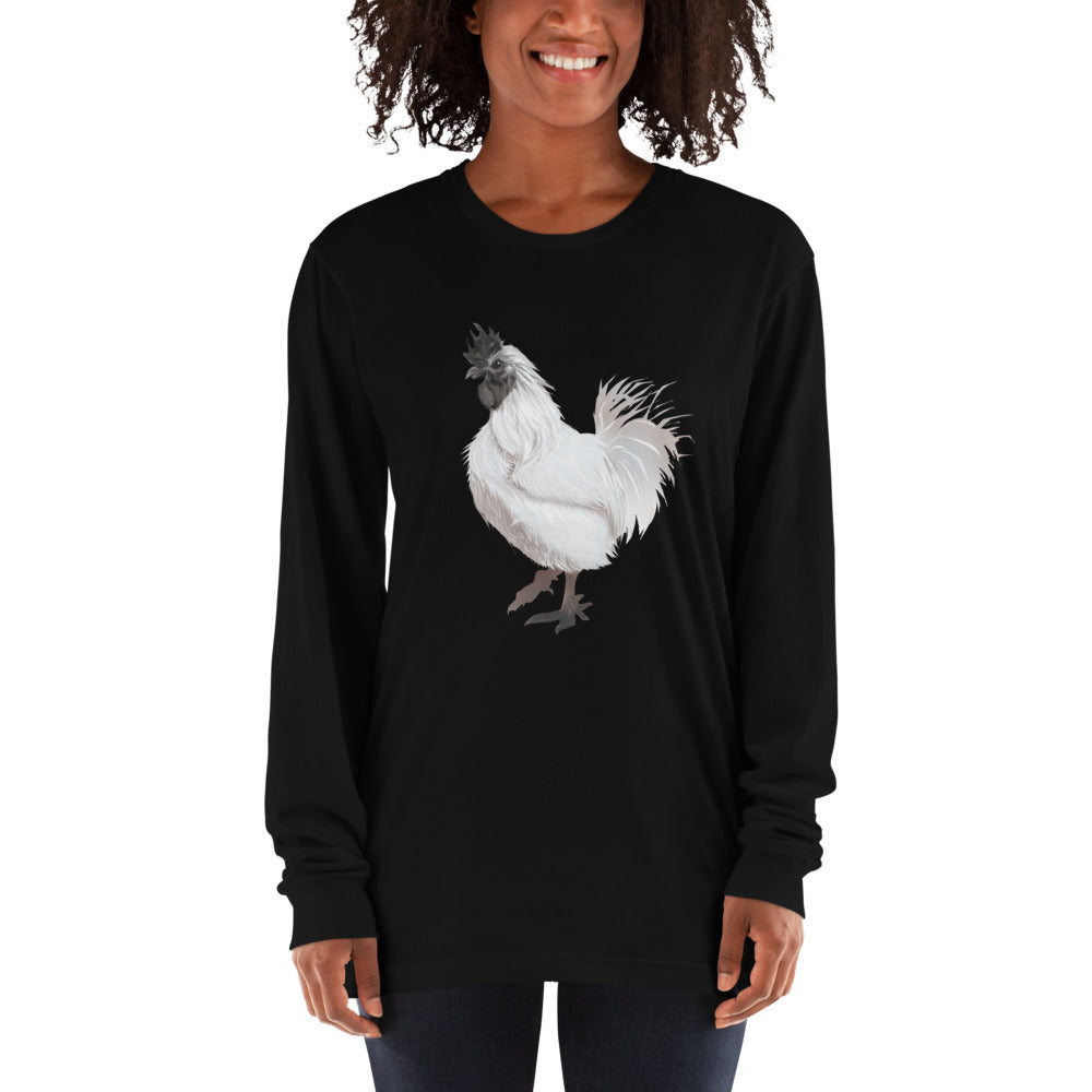 Rooster Strut (White) - Long sleeve t-shirt