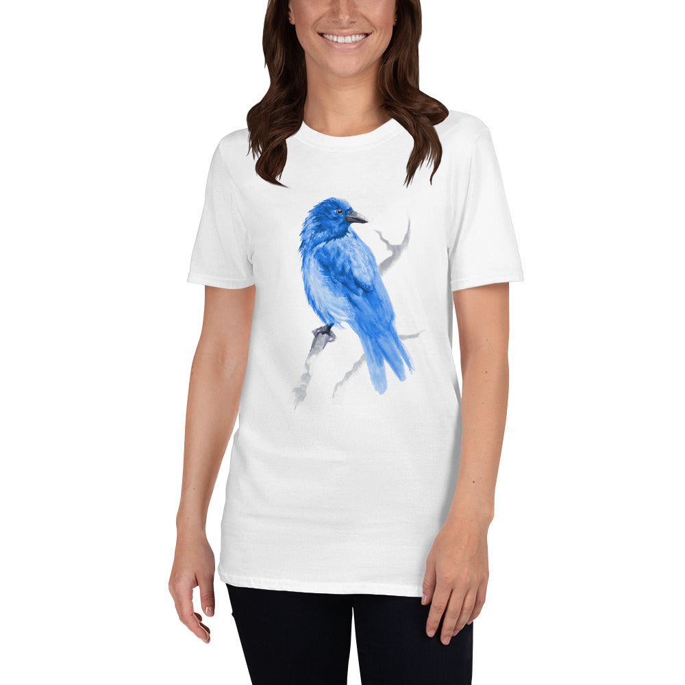 Corvid Blue Bird Perched - Short-Sleeve Unisex T-Shirt