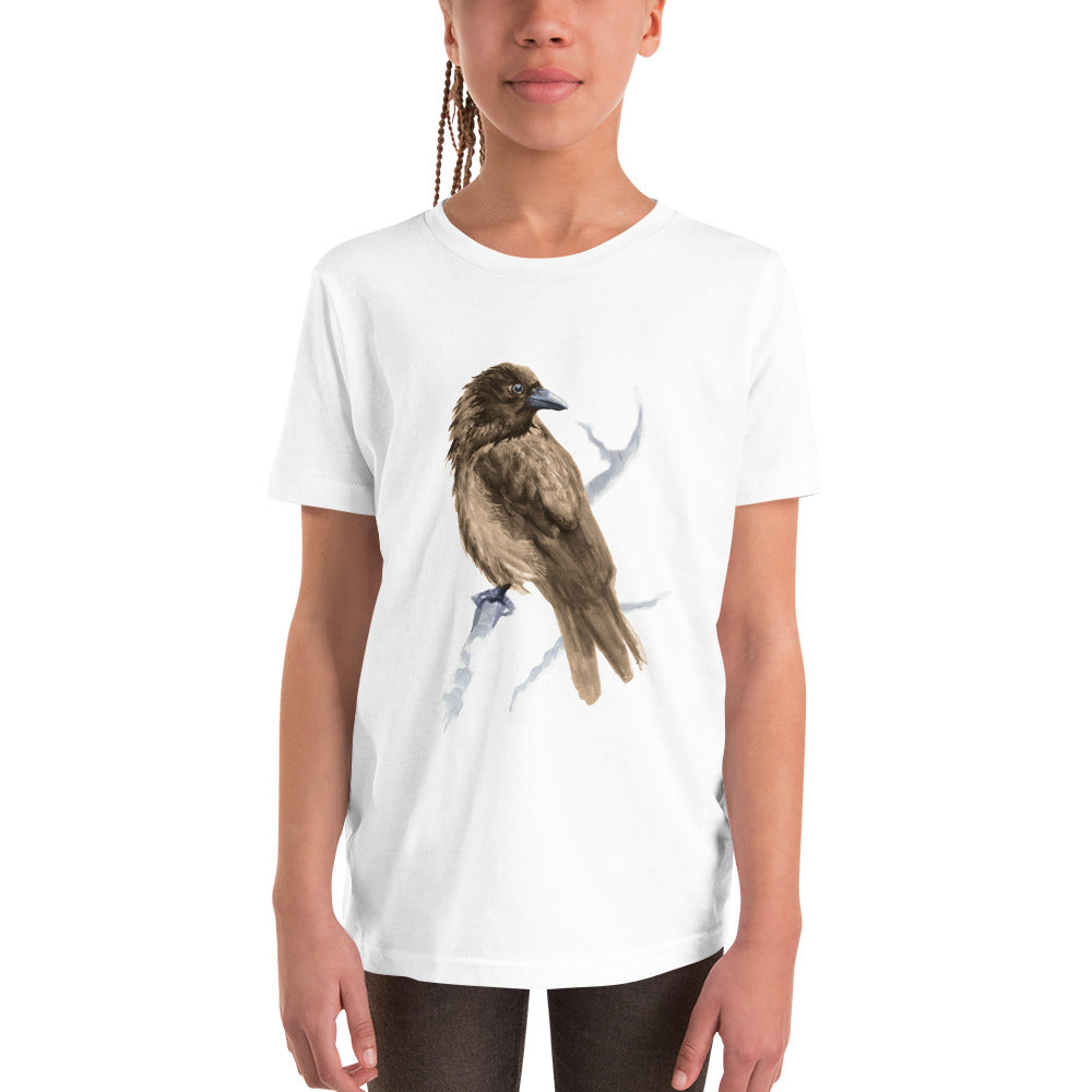 Corvid Brown Bird Perched - Youth Short Sleeve T-Shirt