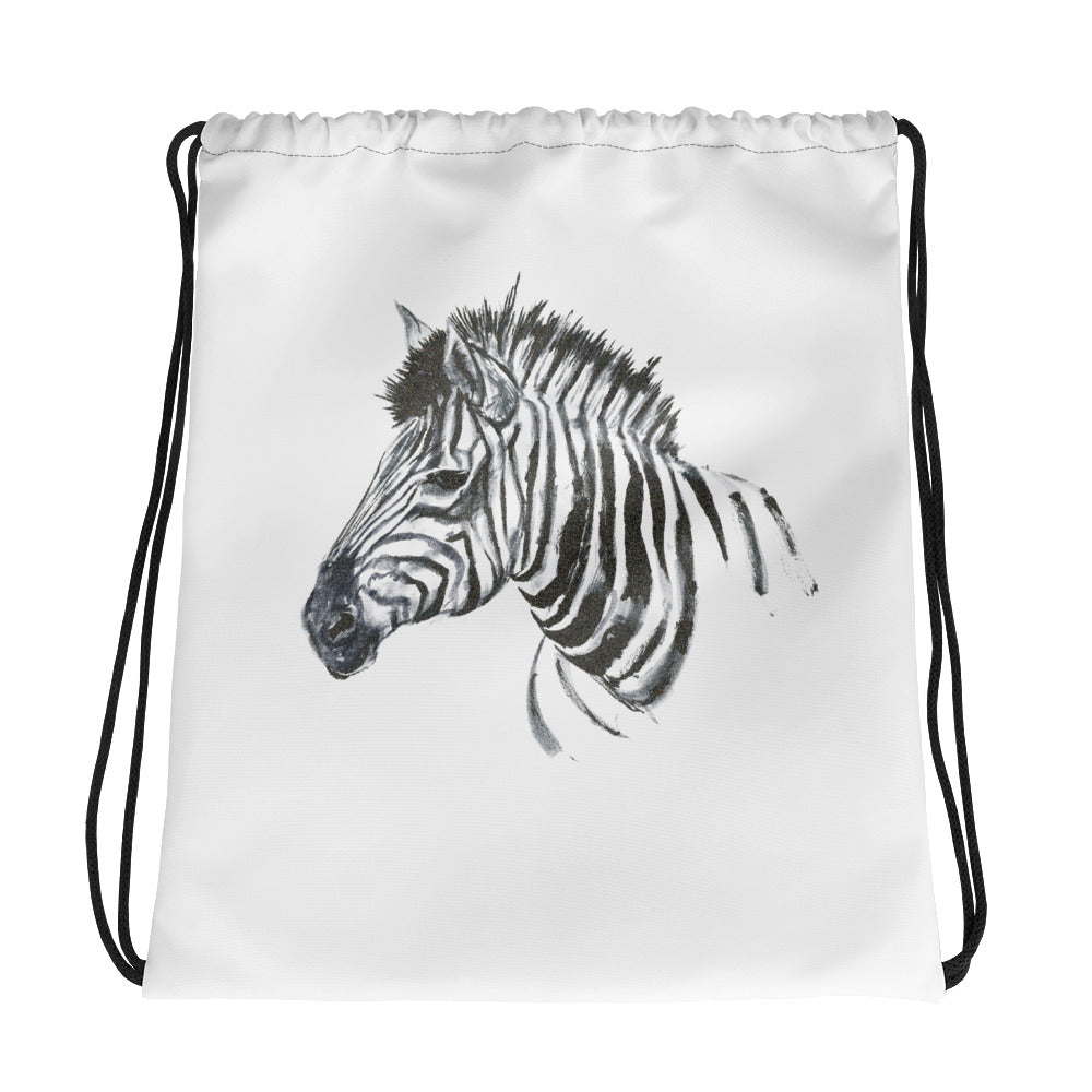 Zebra Ink Brush Painting - Drawstring Bag