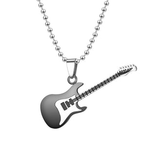 Electric Guitar Alloy Necklace Long Chain Guitarra Model Mini Guitar Pedant For Music Lovers Gift