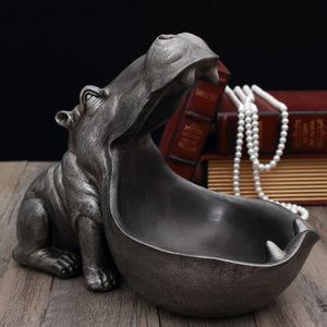 3D Hippo Statue Home Decoration Accessories Desk Sculpture Storage Box Home Decor Figurine Ornament Wedding Party Decorations
