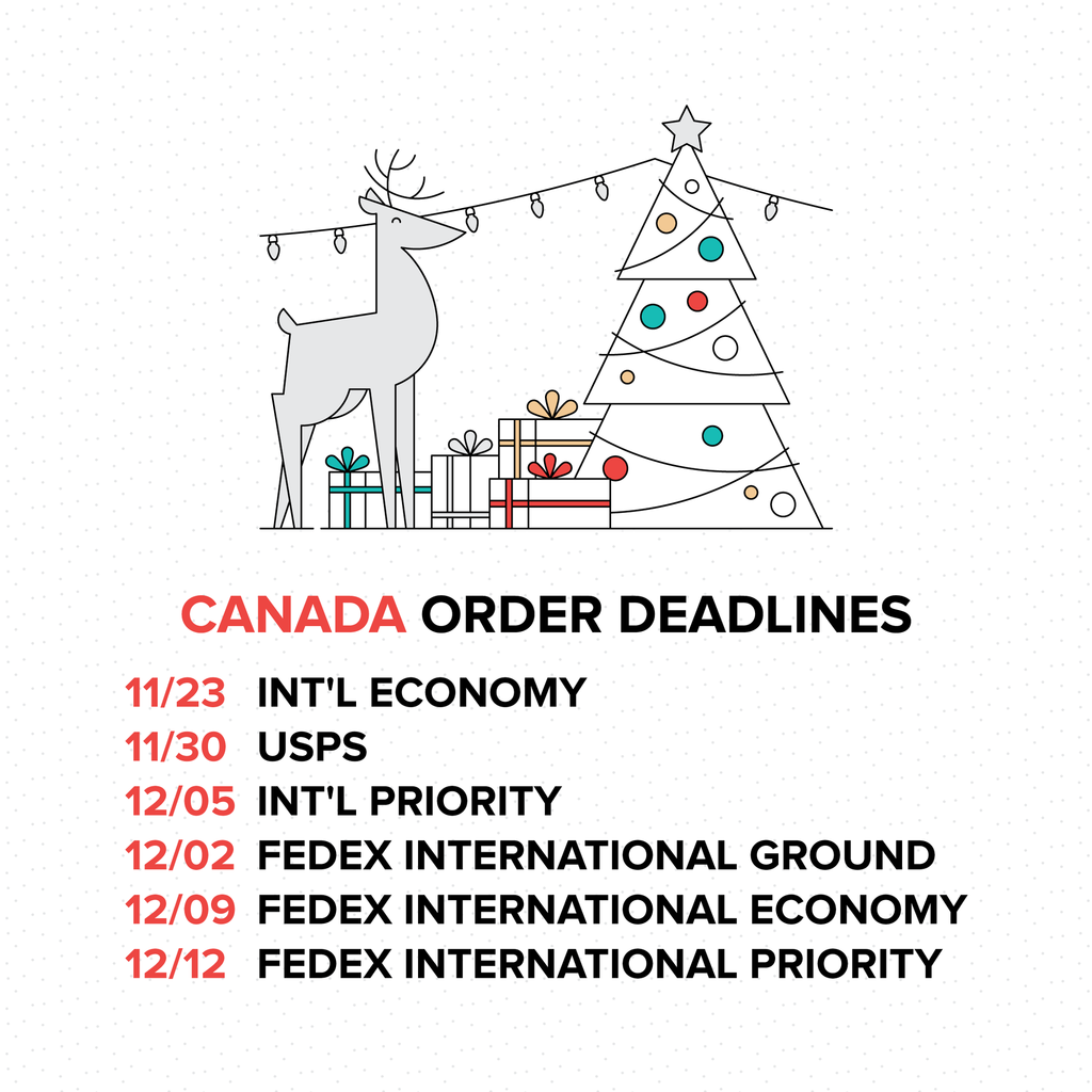 2016 Holiday Order Deadlines - Canada