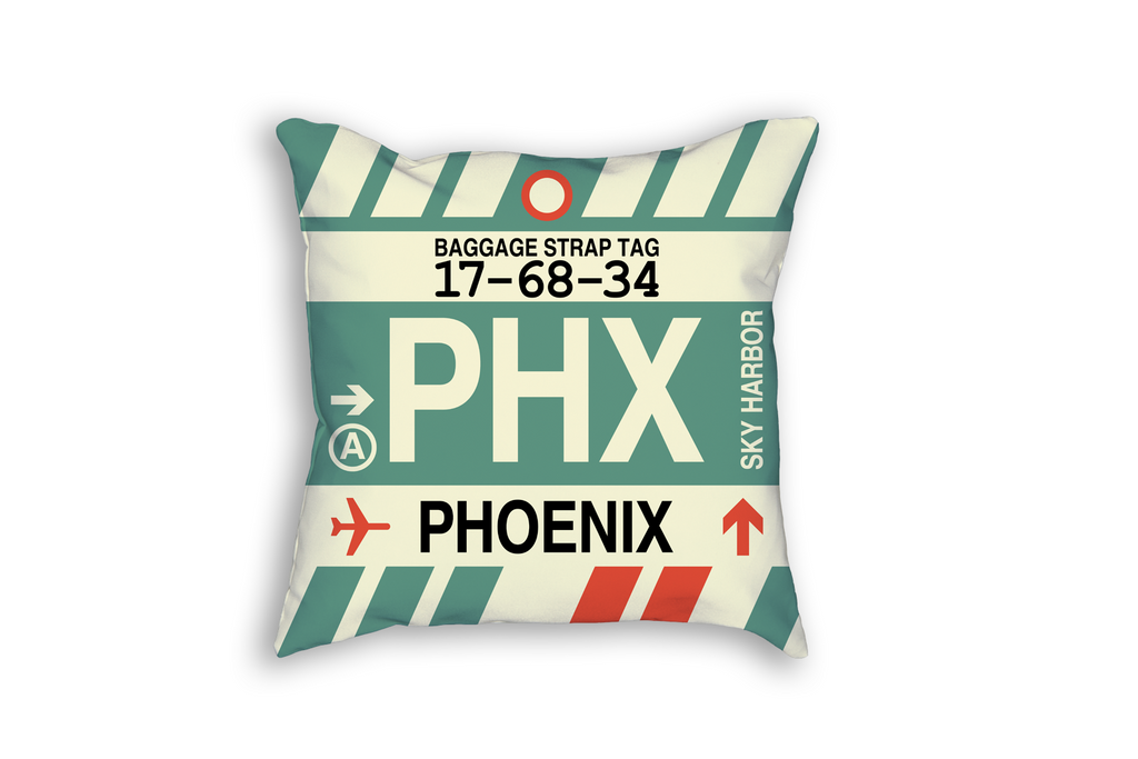 YHM Designs Refreshes United States Airport Code Baggage Tag Throw Pillows
