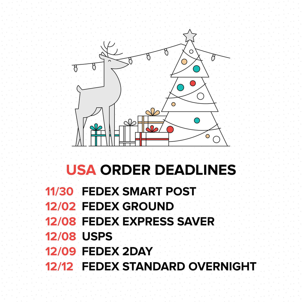 2016 Holiday Order Deadlines - USA
