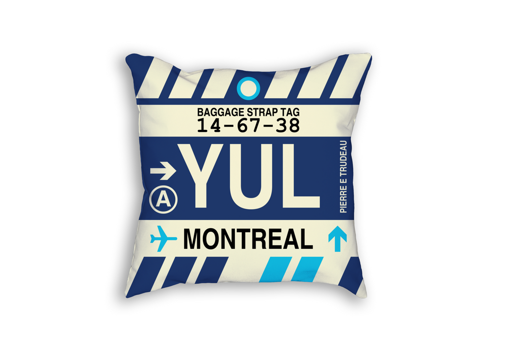 YHM Designs Refreshes Canadian Airport Code Baggage Tag Throw Pillows