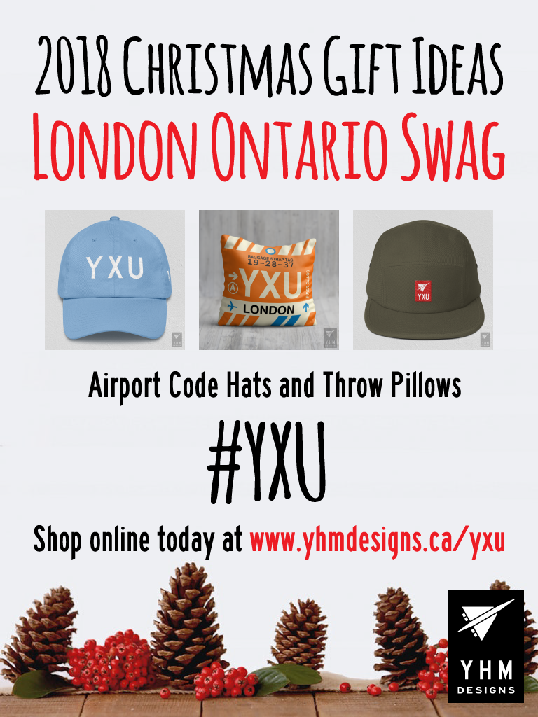 2018 Christmas Gift Ideas – YXU London Airport Code Swag – YHM Designs
