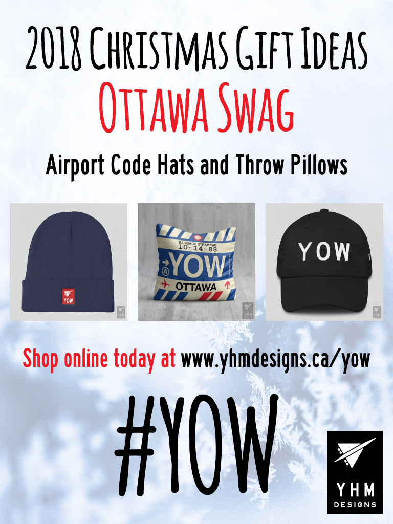 2018 Christmas Gift Ideas – YOW Ottawa Airport Code Swag – YHM Designs