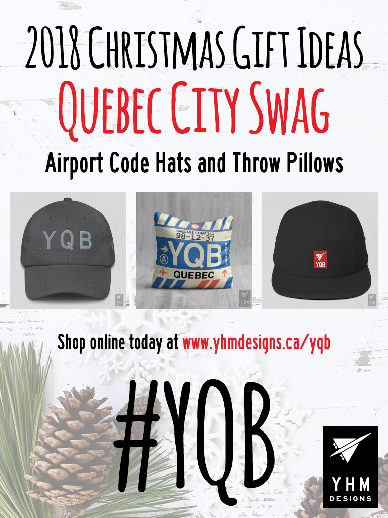 2018 Christmas Gift Ideas – YQB Quebec City Airport Code Swag – YHM Designs