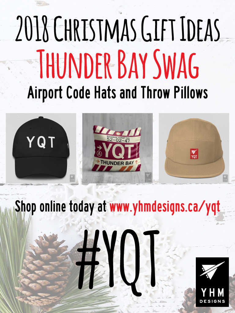 2018 Christmas Gift Ideas – YQT Thunder Bay Airport Code Swag – YHM Designs