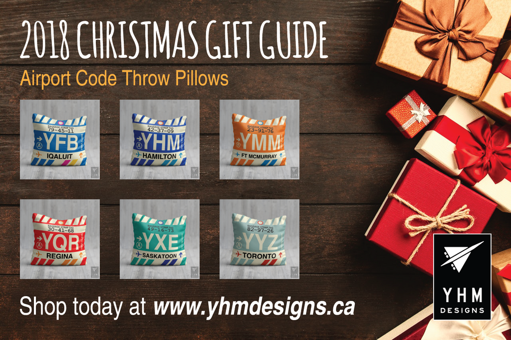 2018 Christmas Gift Guide Airport Code Throw Pillows - City-Themed Products - YHM Designs
