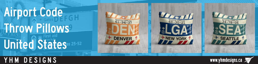 US Airport Code Throw Pillows Housewarming Gifts Airbnb Decor - YHM Designs