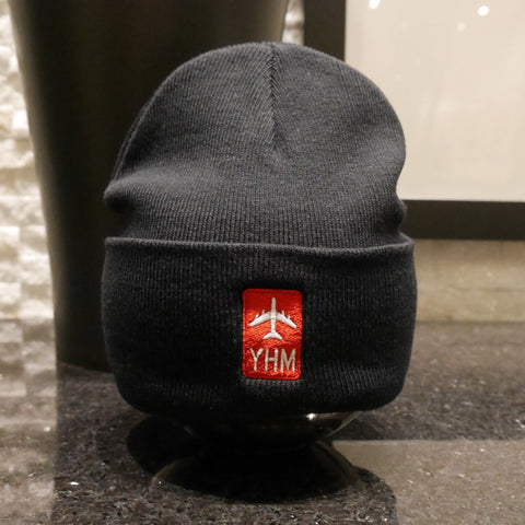 YHM Hamilton Retro Jetliner Airport Code Winter Hat - City-Themed Gear - YHM Designs
