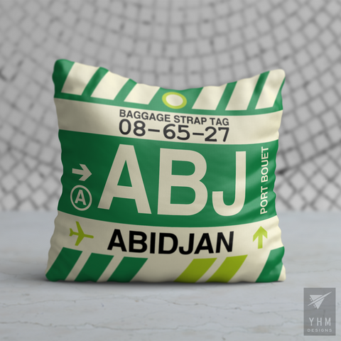 YHM Designs - ABJ Abidjan Airport Code Throw Pillow - Housewarming Gift, Birthday Gift, Teacher Gift, Thank You Gift