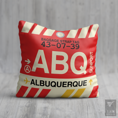 YHM Designs - ABQ Albuquerque Airport Code Throw Pillow - Housewarming Gift, Birthday Gift, Teacher Gift, Thank You Gift