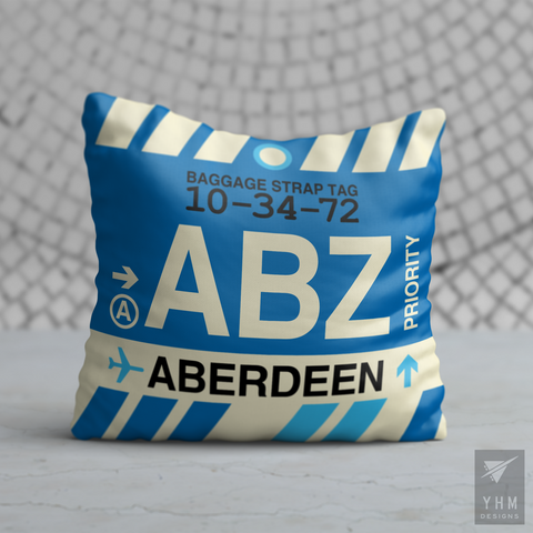 YHM Designs - ABZ Aberdeen Airport Code Throw Pillow - Housewarming Gift, Birthday Gift, Teacher Gift, Thank You Gift