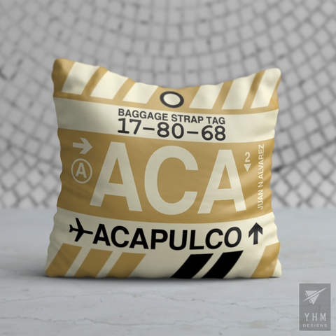 YHM Designs - ACA Acapulco Airport Code Vintage Baggage Tag Design Pillow - Housewarming Gift, Birthday Gift, Teacher Gift, Thank You Gift