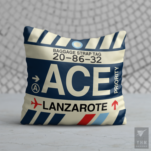 YHM Designs - ACE Lanzarote Airport Code Throw Pillow - Housewarming Gift, Birthday Gift, Teacher Gift, Thank You Gift