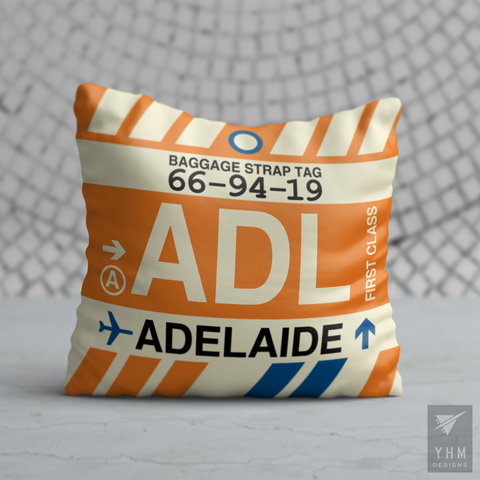 YHM Designs - ADL Adelaide Airport Code Vintage Baggage Tag Design Pillow - Housewarming Gift, Birthday Gift, Teacher Gift, Thank You Gift