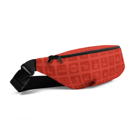 YHM Designs  •  Airport Symbols Fanny Pack • Cherry Tomato Red 1