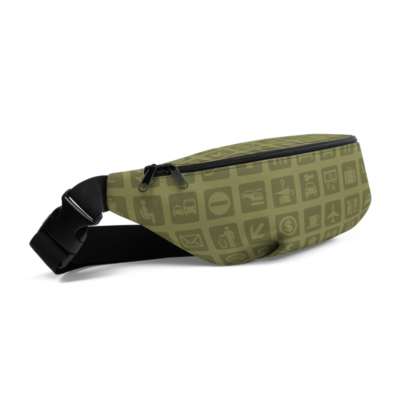 YHM Designs  •  Airport Symbols Fanny Pack • Fresh Olive Green 1