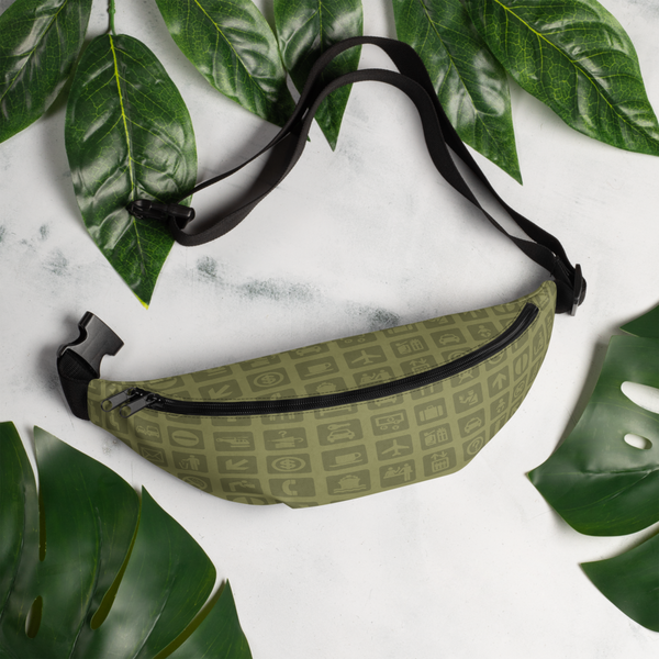 YHM Designs  •  Airport Symbols Fanny Pack • Fresh Olive Green 8