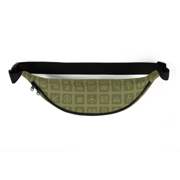 YHM Designs  •  Airport Symbols Fanny Pack • Fresh Olive Green 3