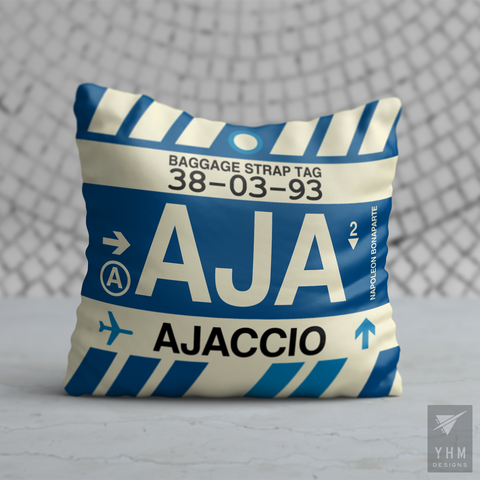 YHM Designs - AJA Ajaccio Airport Code Throw Pillow - Housewarming Gift, Birthday Gift, Teacher Gift, Thank You Gift