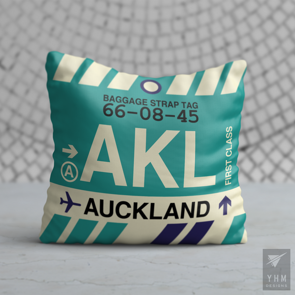 YHM Designs - AKL Auckland Airport Code Throw Pillow - Housewarming Gift, Birthday Gift, Teacher Gift, Thank You Gift