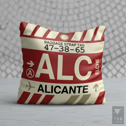 YHM Designs - ALC Alicante Airport Code Throw Pillow - Housewarming Gift, Birthday Gift, Teacher Gift, Thank You Gift