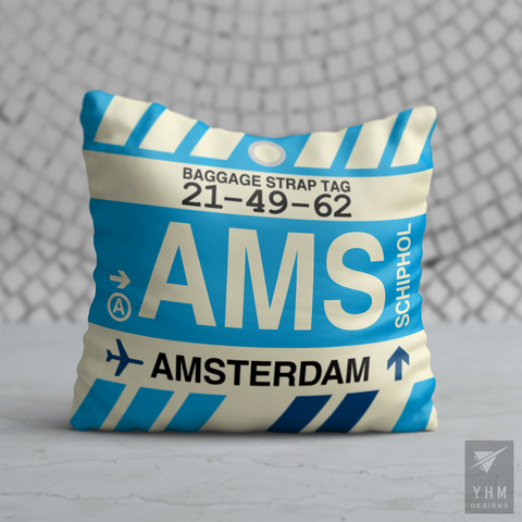 YHM Designs - AMS Amsterdam Airport Code Throw Pillow - Housewarming Gift, Birthday Gift, Teacher Gift, Thank You Gift