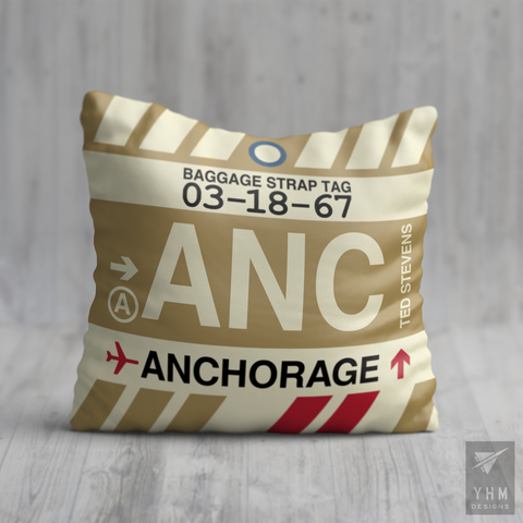 YHM Designs - ANC Anchorage Airport Code Throw Pillow - Housewarming Gift, Birthday Gift, Teacher Gift, Thank You Gift