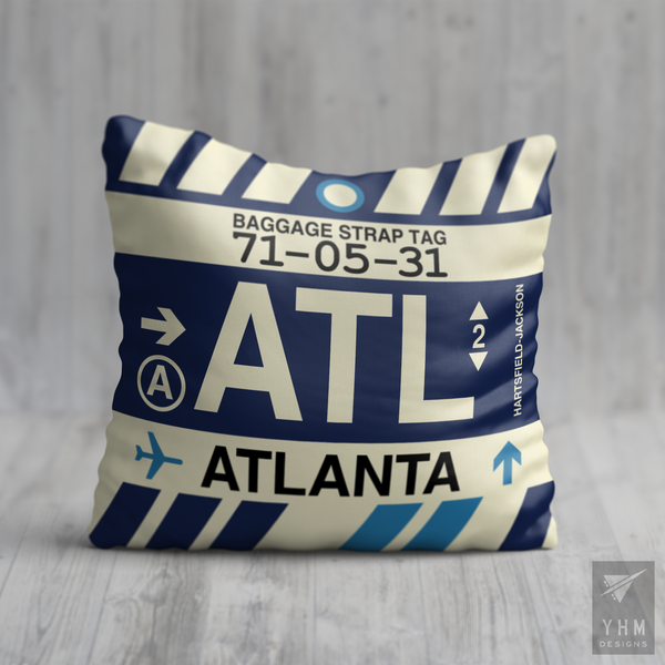YHM Designs - ATL Atlanta Airport Code Throw Pillow - Housewarming Gift, Birthday Gift, Teacher Gift, Thank You Gift