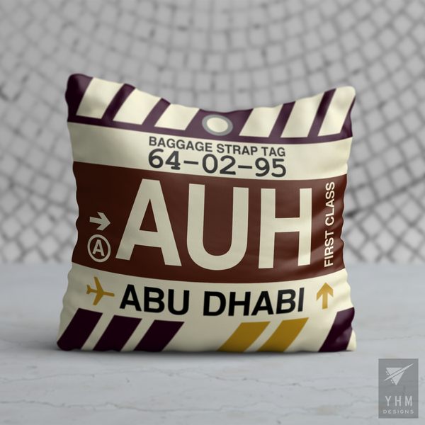 YHM Designs - AUH Abu Dhabi Airport Code Throw Pillow - Housewarming Gift, Birthday Gift, Teacher Gift, Thank You Gift