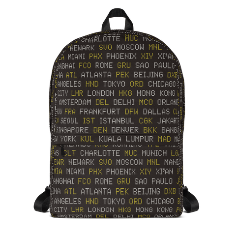 "YHM Designs  •  World Airport Codes 15.6"" Laptop Backpack • Black, White and Yellow 1"