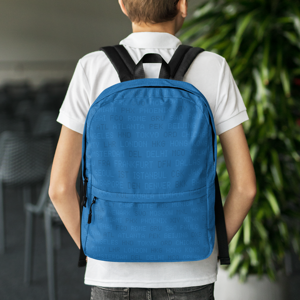 "YHM Designs  •  World Airport Codes 15.6"" Laptop Backpack • Blue 8"