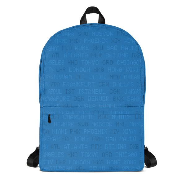 "YHM Designs  •  World Airport Codes 15.6"" Laptop Backpack • Blue 1"