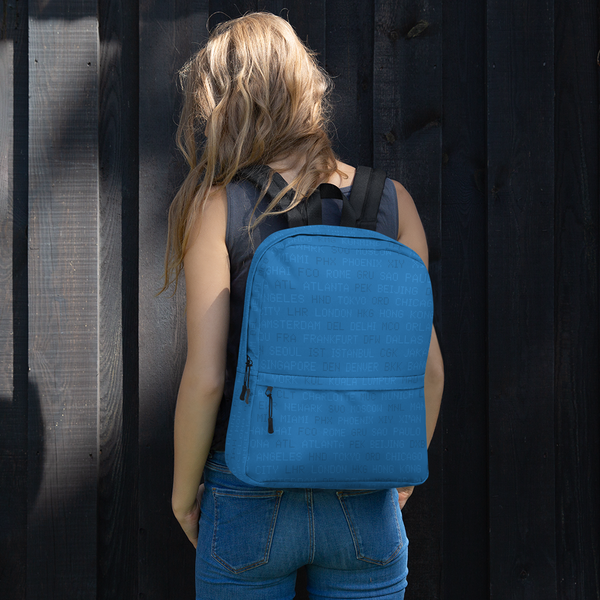 "YHM Designs  •  World Airport Codes 15.6"" Laptop Backpack • Blue 11"