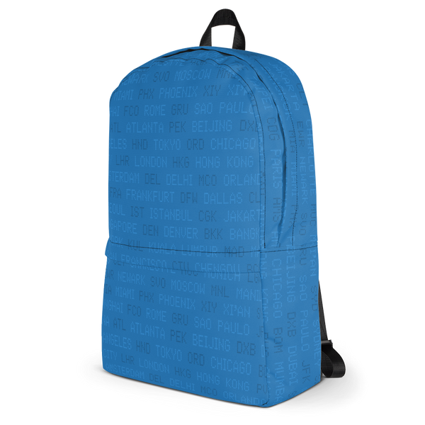 "YHM Designs  •  World Airport Codes 15.6"" Laptop Backpack • Blue 3"
