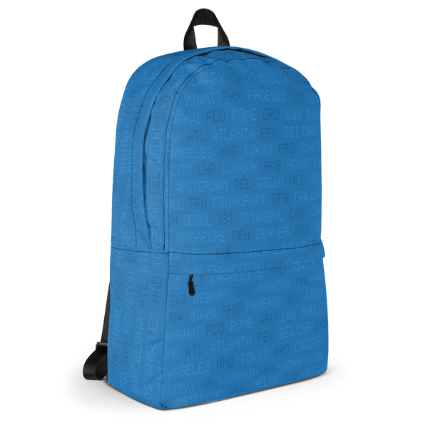 "YHM Designs  •  World Airport Codes 15.6"" Laptop Backpack • Blue 2"